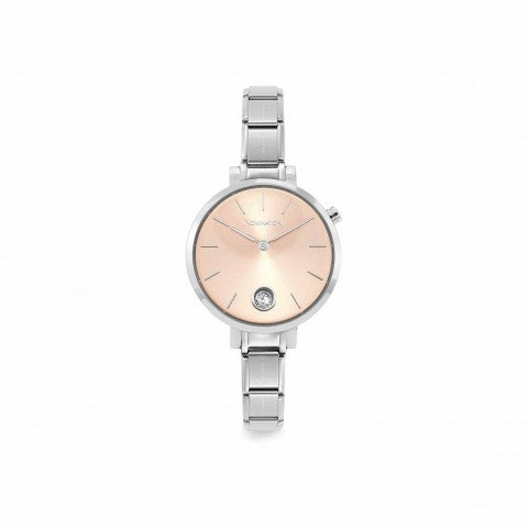 Composable_watch_in_steel_with_Cubic_Zirconia_Stainless_steel_watch_with_Sunray_Pink_clock_face
