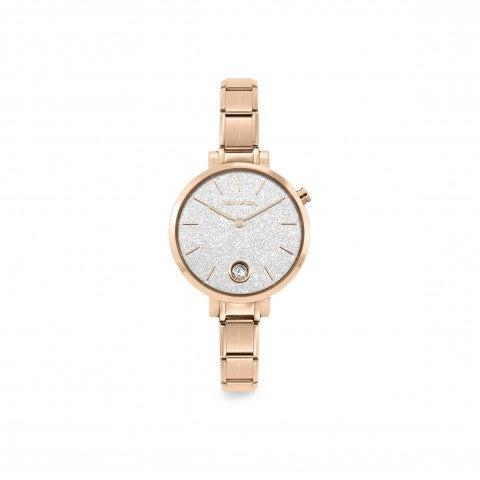 Reloj_Composable__Oro_rosa_con_Glitter_y_C._Zirconia_Reloj_en_Acero_con_caja_redonda_y_Cubic_Zirconia