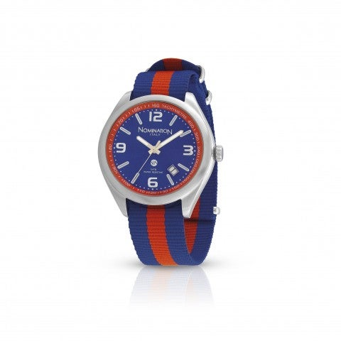 Steel_Watch_with_coloured_nylon_strap_Stainless_steel_watch_with_nylon_strap