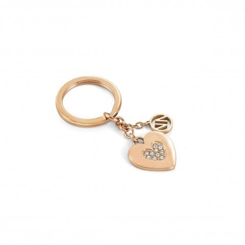 Heart_with_stones_keyring_Stainless_steel_keyring_with_stones