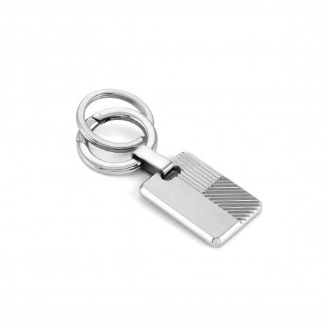 Stainless_steel_keyring,_striped_Keyring_with_double_ring