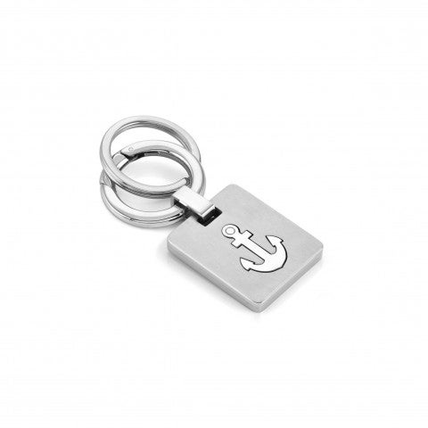 Satin_finish_steel_keyring,_Anchor_Stainless_steel_keyring_with_double_ring