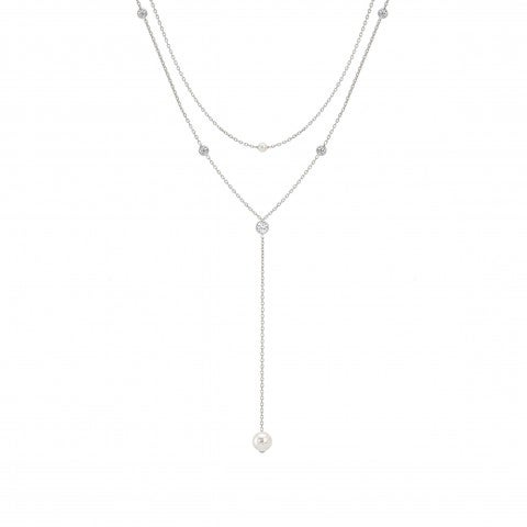 Double_Necklace_pendant_with_Swarovski_Pearls_Necklace_in_sterling_silver,_Cubic_Zirconia_and_pearls