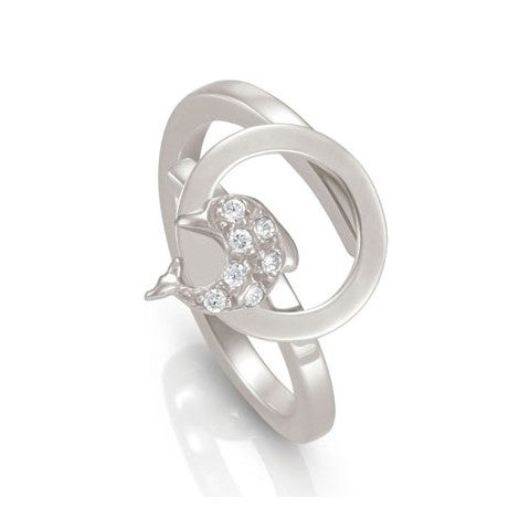 Milù_Ring_with_Dolphin_Ring_in_sterling_silver_with_Dolphin_and_Cubic_Zirconia
