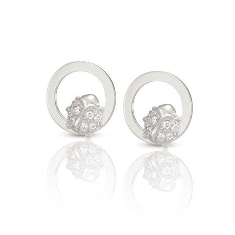 Milù_Earrings_with_Ladybug_Earrings_in_sterling_silver_and_Cubic_Zirconia