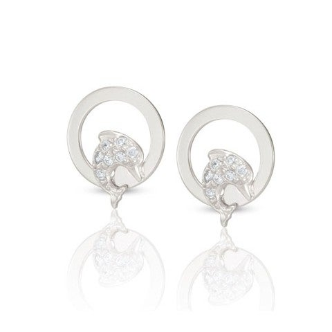 Milù_Earrings_with_Dolphin_Earrings_in_silver_and_Cubic_Zirconia_with_Dolphin
