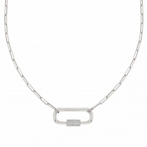 Collier_Charming_maille_rectangle_avec_Mousqueton_Collier_avec_Cubic_Zirconia_Blancs