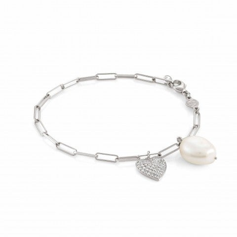White_Dream_bracelet_with_Heart_Silver_bracelet_with_pearl