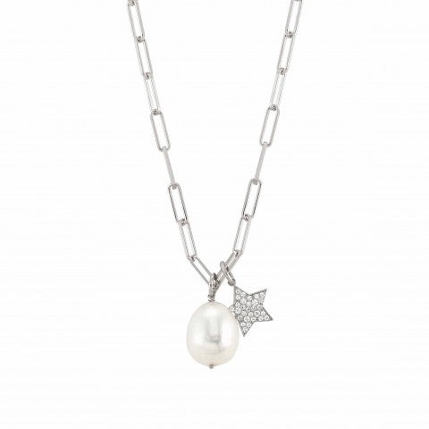 White_Dream_necklace_with_Star_Sterling_silver_necklace_with_pearl