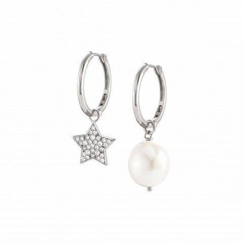 White_Dream_Earrings_with_Star_Silver_earrings_with_pearl