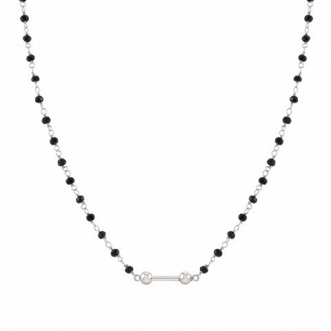SeiMia_necklace,_silver_and_black_stones_Sterling_silver_necklace_with_crystals