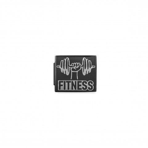 Link_Composable_GLAM_Fitness_pvd_nero_Link_in_Acciaio_con_Simbolo_e_scritta