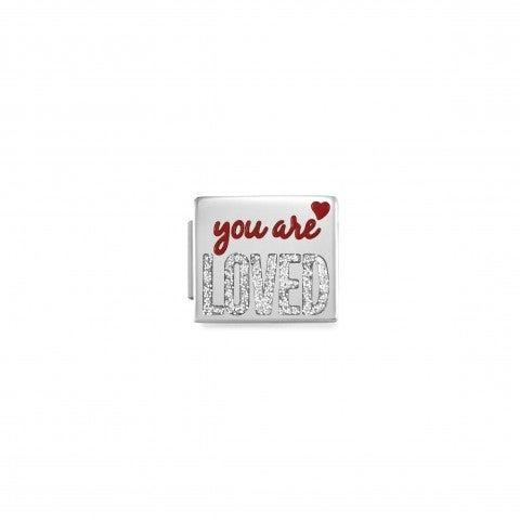 Link_Composable_GLAM_You_are_Loved_Link_con_scritta_in_Acciaio_e_Glitter
