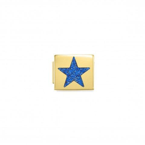 Link_Composable_GLAM_Stella_Glitter_Blu_Link_con_finitura_dorata_e_Smalto_Glitter_blu