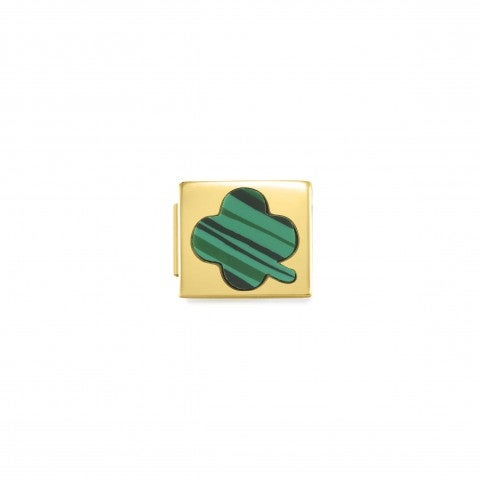 Link_Composable_GLAM_Quadrifoglio_verde_Link_con_simbolo_portafortuna_in_Acciaio
