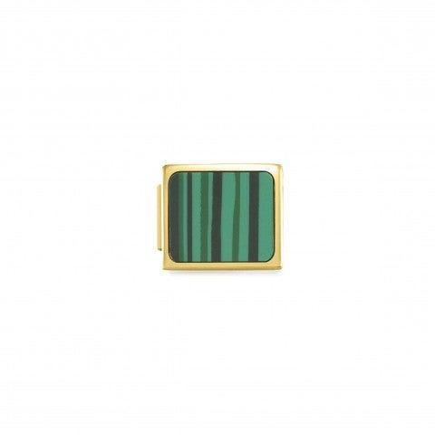 Link_Composable_GLAM_Quadrato_verde_Link_con_simbolo_geometrico_in_Acciaio_e_resina
