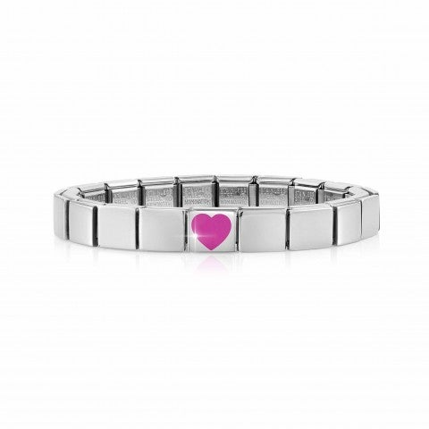 Composable_GLAM_bracelet,_Fuchsia_Heart_Bracelet_in_stainless_steel_and_coloured_enamel
