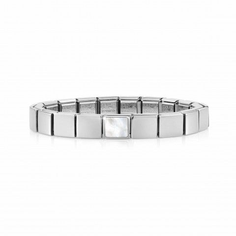 Composable_GLAM_bracelet,_Square_Mother_of_Pearl_Stainless_steel_bracelet_with_geometric_symbol