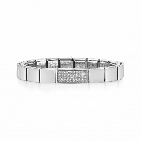 Composable_GLAM_bracelet,_Double_Pavé_White_Stainless_steel_bracelet_with_white_Swarovksi