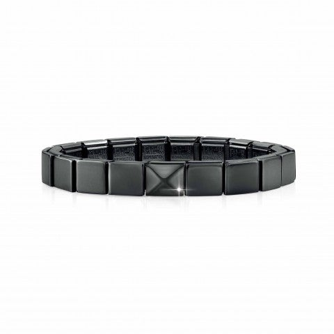 Composable_GLAM_Black_bracelet_with_Pyramid_Bracelet,_Black_finish_for_Him