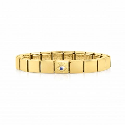 Composable_GLAM_bracelet,_Eye_CZ_Blue_Bracelet_in_stainless_steel,_Golden_finish_with_CZ