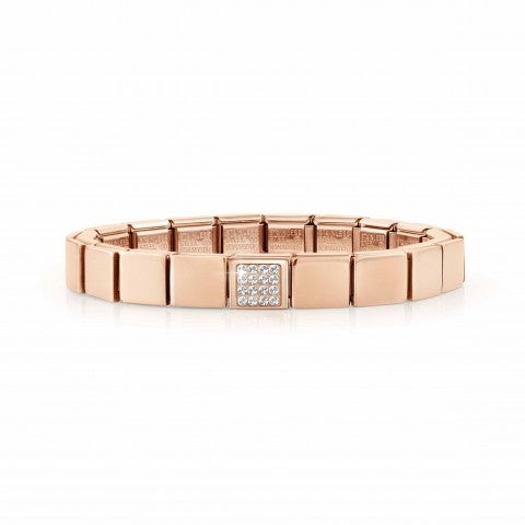 Composable_GLAM_Rose_bracelet,_Pavé_Stainless_steel_bracelet,_Rose_finish_and_Stones
