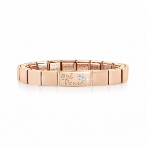 Bracciale_Composable_GLAM_Girl_Power_Bracciale_con_finitura_in_Oro_rosa_con_scritta_e_Smalto