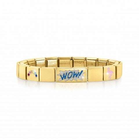 Composable_GLAM_Golden_bracelet,_WOW_Glitter_Bracelet_with_Blue_text,_Rainbow,_Peacock