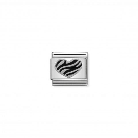 Composable_Classic_Link_Striped_Heart_Sterling_silver_Link_with_Elegant_Love_symbol