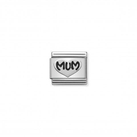 """Link_Composable_Classic_Cuore_Mum_Link_con_scritta_""""Mum""""_ossidata"""