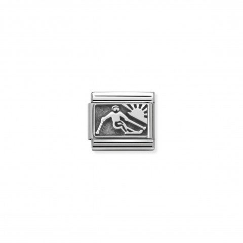 Composable_Classic_Link_Skier_Sterling_silver_Link_with_Skiing_symbol