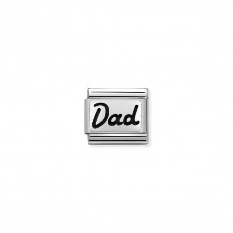 Composable_Classic_Link_Silver_Dad_in_Italics_Sterling_silver_Link_with_Dad_writing_in_italics