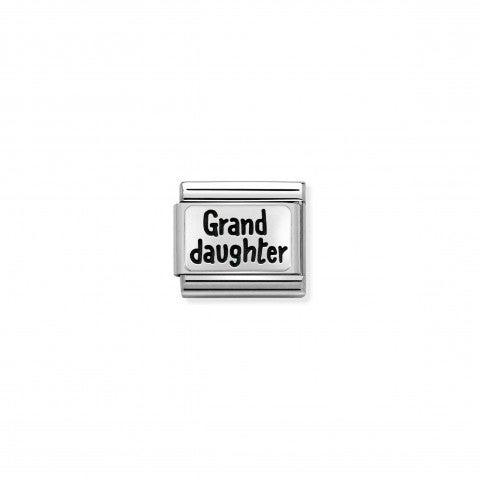 Link_Composable_Classic_Grand_Daughter_Link_con_scritta_in_Acciaio_e_Argento_925