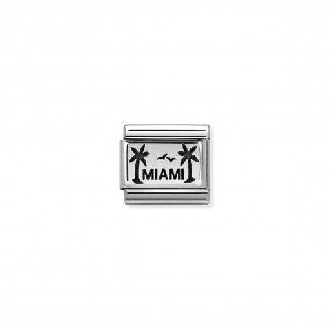 Link_Composable_Classic_Miami_con_Palme_Link_in_Acciaio_con_scritta_e_Smalto