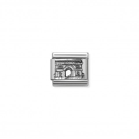 Composable_Classic_Link_Arc_de_Triomphe_silver_Sterling_silver_Link_with_French_Monument_in_relief