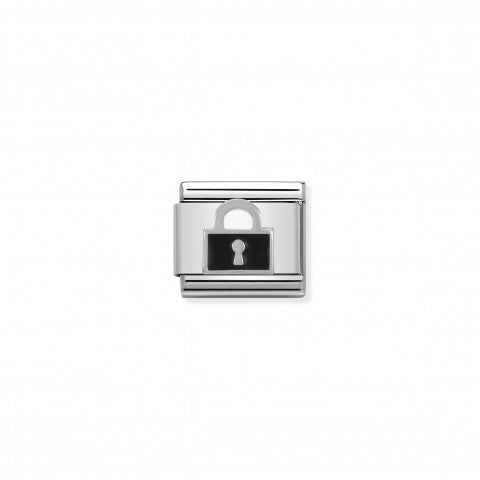 Composable_Classic_Link_black_Lock_in_Silver_and_Enamel_Stainless_steel_black_Lock_in_silver_and_enamel