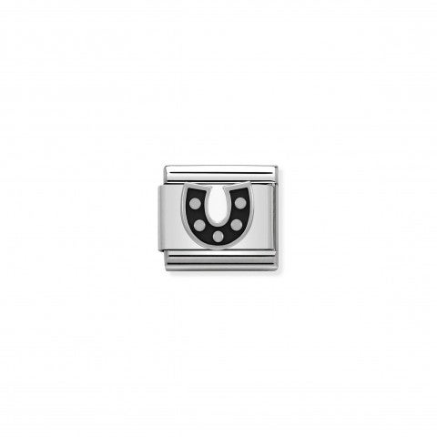 Composable_Classic_Link_Horseshoe_with_black_Enamel_Good_Luck_symbol_with_Horseshoe_in_silver_and_enamel