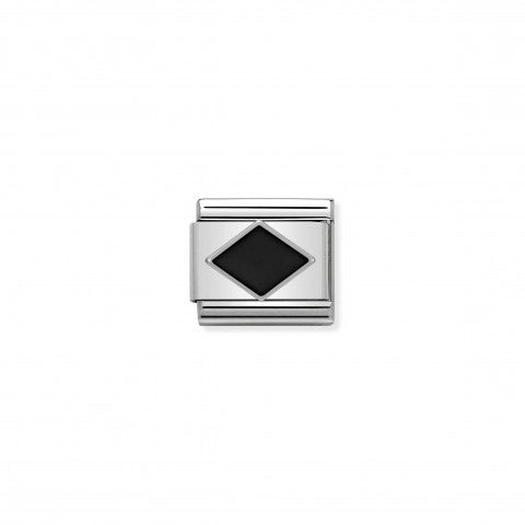 Composable_Classic_Link_black_Rhombus_in_Silver_and_Enamel_Geometric_symbol_with_black_Rhombus_in_silver