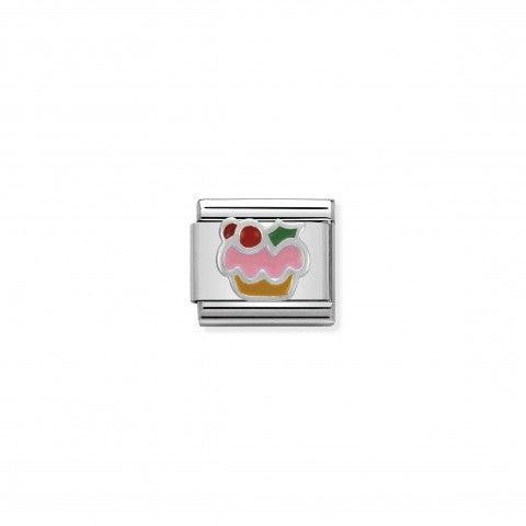 Link_Composable_Classic_Cupcake_di_Natale_Link_Magico_Natale_in_Argento_925_e_Smalto_colorato