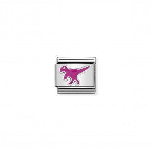 Link_Composable_Classic_Dinosauro_Link_in_Argento_925_ossidato_e_smalto_con_simbolo_fantasia