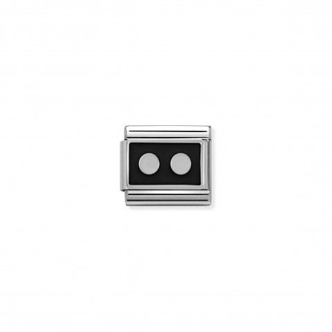 Composable_Classic_Link_2_Dots_black_and_Silver_Geometric_Link_with_black_enamel