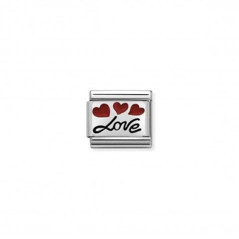 Link_Composable_Classic_Love_con_palloncini_Link_con_scritta_in_Corsivo_in_Acciaio_e_Smalto