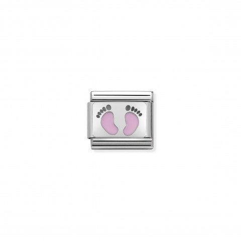Composable_Classic_Link_pink_Footprints_Sterling_silver_and_enamel_Link_for_Newborn_Daughter