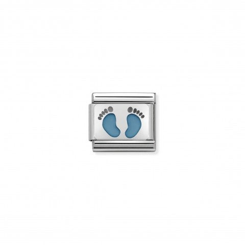 Composable_Classic_Link_light_blue_Footprints_Sterling_silver_and_enamel_Link_for_Newborn_Baby