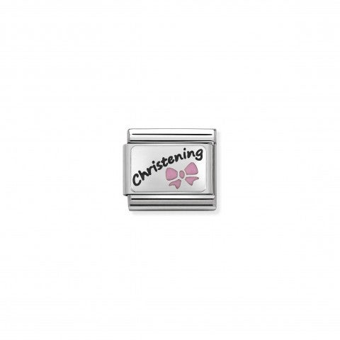Composable_Classic_Pink_Christening_Link_Link_with_writing_in_black_enamel_and_pink_Bow