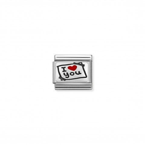 Composable_Classic_Link_Postkarte_I_Love_You_Link_mit_Schrift_in_925er_Silber_und_Emaille