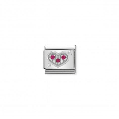 Composable_Classic_Link_red_Heart_with_Arrow_in_Silver_and_Stones_Red_Heart_with_Arrow_Link_in_silver_and_Cubic_Zirconia