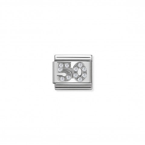 Composable_Classic_Number_50_Link_with_white_Stones_Link_in_steel,_sterling_silver_and_white_stones