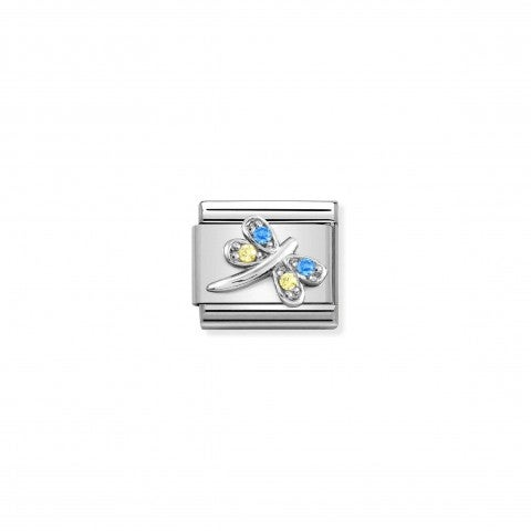 Composable_Link,_Dragonfly_Silver,_coloured_CZ_Link_with_Yellow_and_Blue_stones