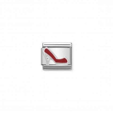 Link_Composable_Classic_in_Argento_Scarpa_rossa_Link_Argento_925,_Smalto_rosso_e_pietre_Scarpetta
